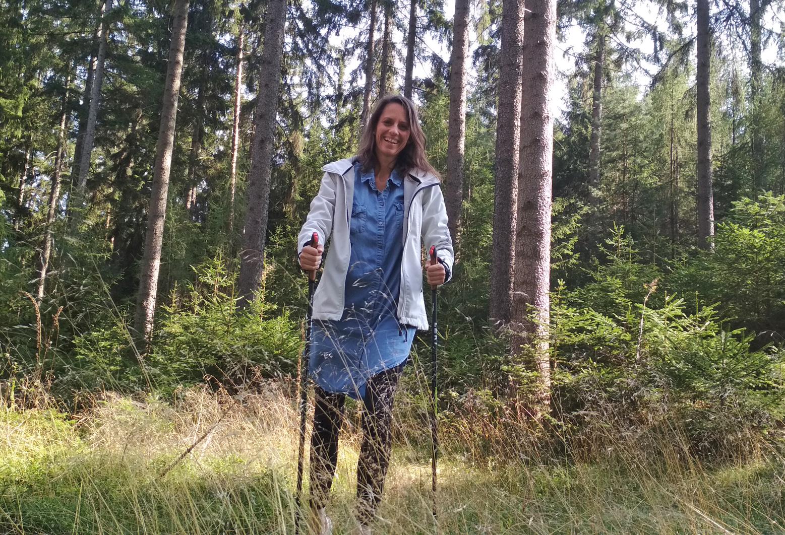 Waldbaden mit Nordic Walking im Thüringer Wald